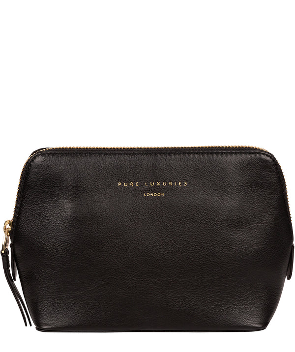 'Theydon' Black Leather Make-Up Bag