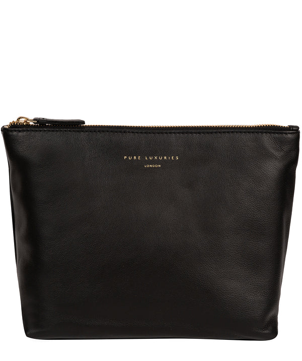'Ealing' Black Leather Make-Up Bag