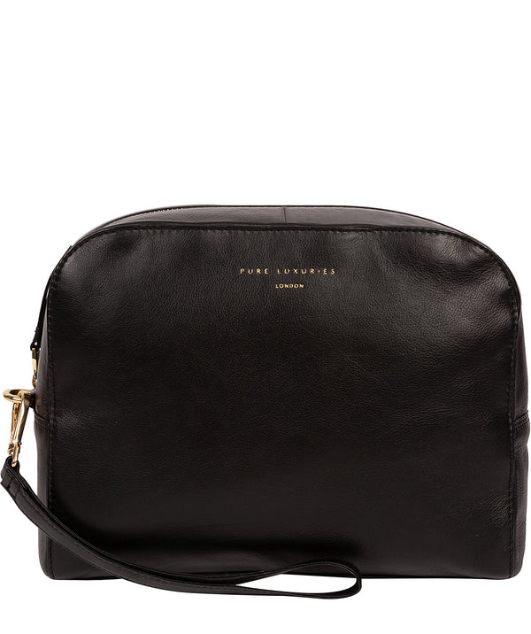 'Brompton' Black Leather Make-Up Bag