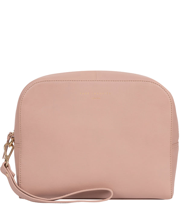 'Brompton' Blush Pink Leather Make-Up Bag