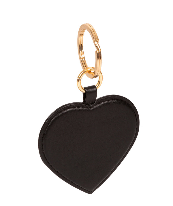 'Albany' Black Leather Heart Keyrings