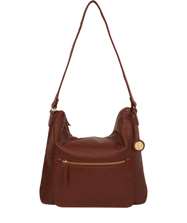 'Tenley' Chestnut Leather Shoulder Bag