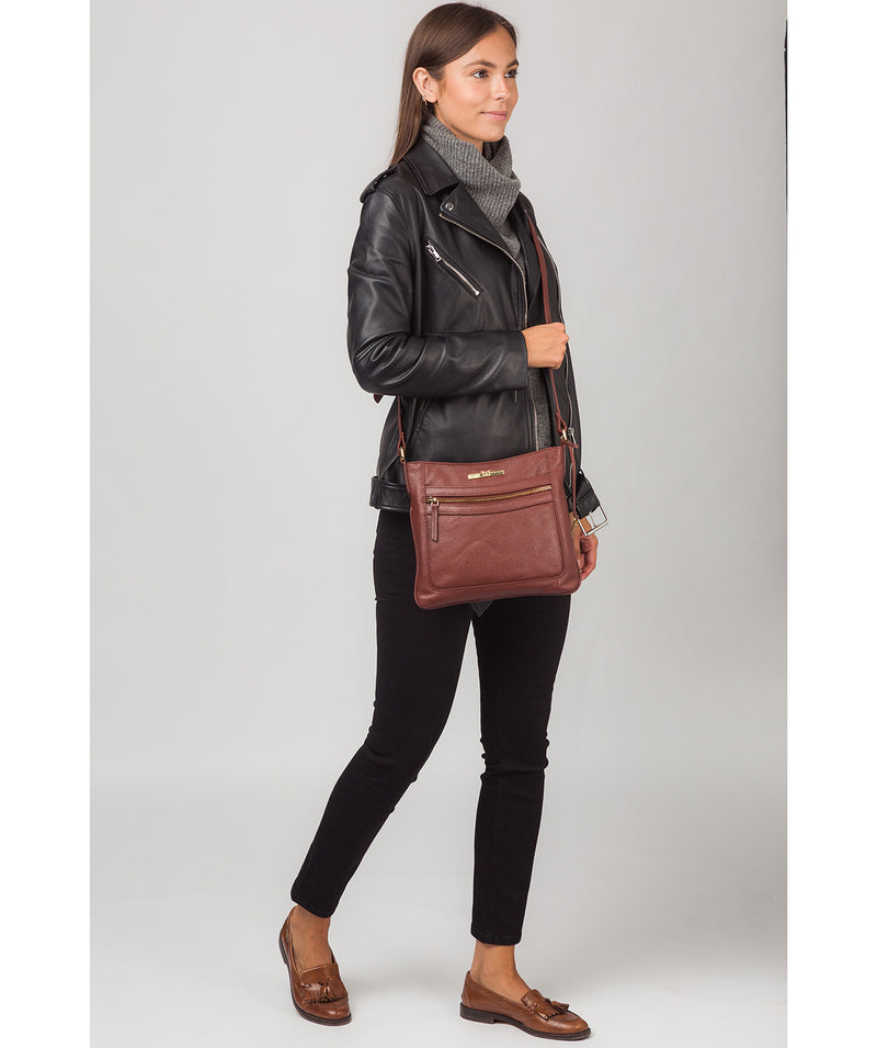 'Lewes' Chestnut Leather Cross Body Bag