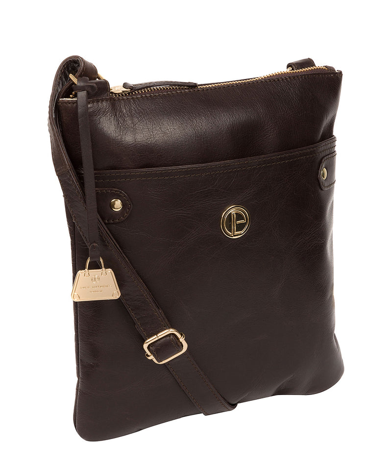'Briony' Dark Brown Leather Cross Body Bag
