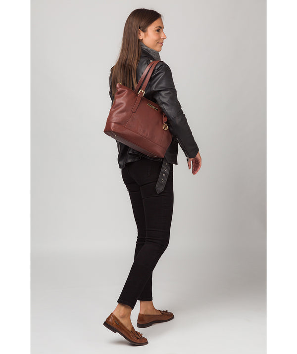 'Emily' Chestnut Leather Tote Bag