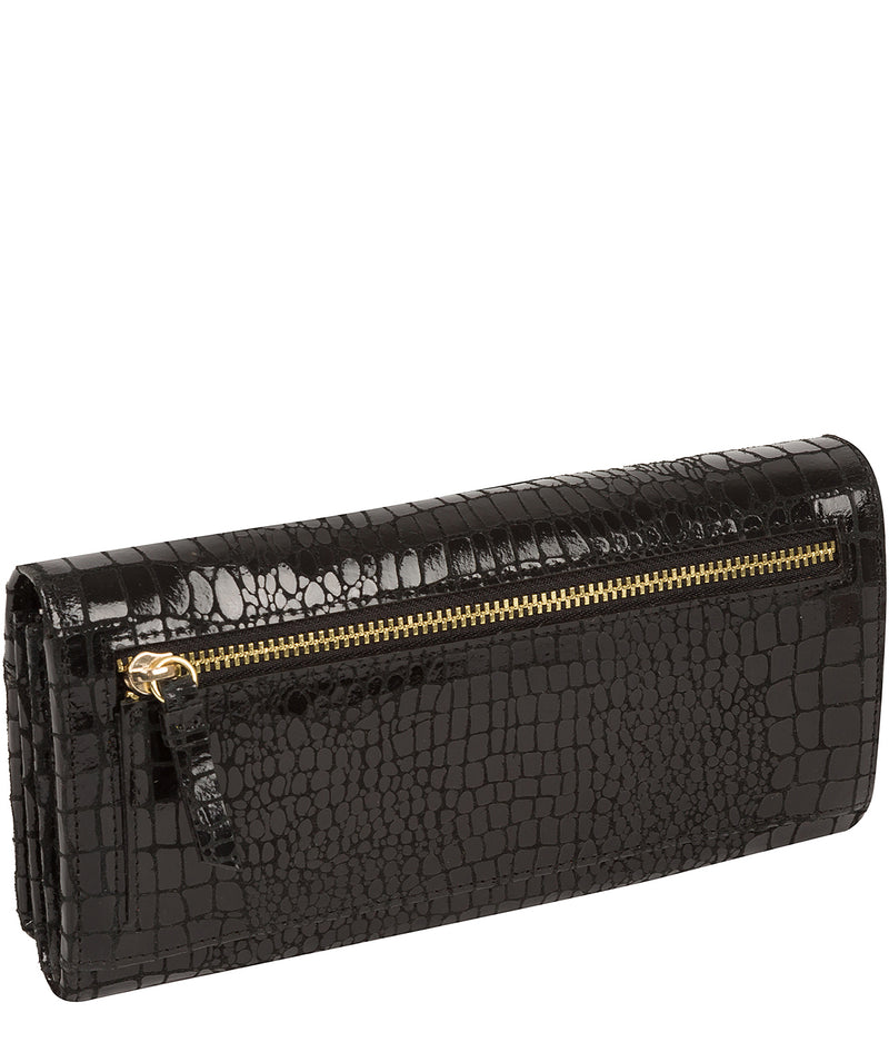 'Izabel' Black Croc Leather Purse
