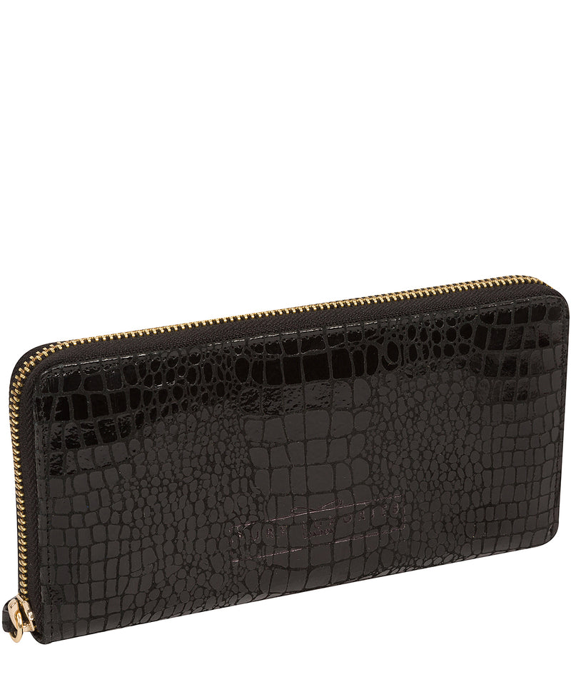 'Frieda' Black Croc Leather Purse