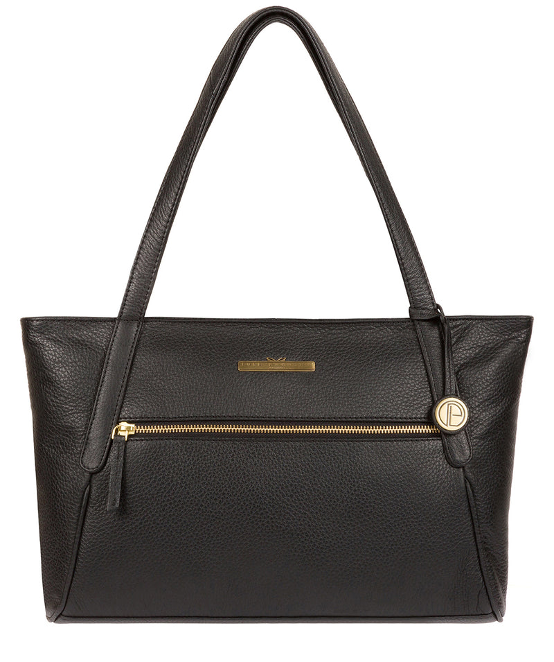 'Carly' Black Leather Medium Tote Bag image 1