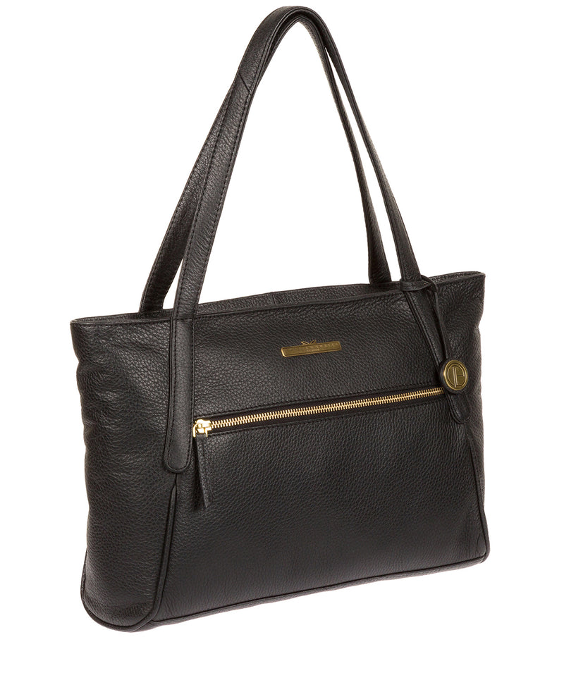 'Carly' Black Leather Medium Tote Bag image 3