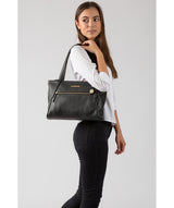 'Carly' Black Leather Medium Tote Bag image 2