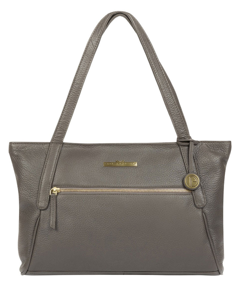 'Carly' Grey Leather Tote Bag