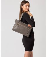 'Carly' Grey Leather Tote Bag image 2
