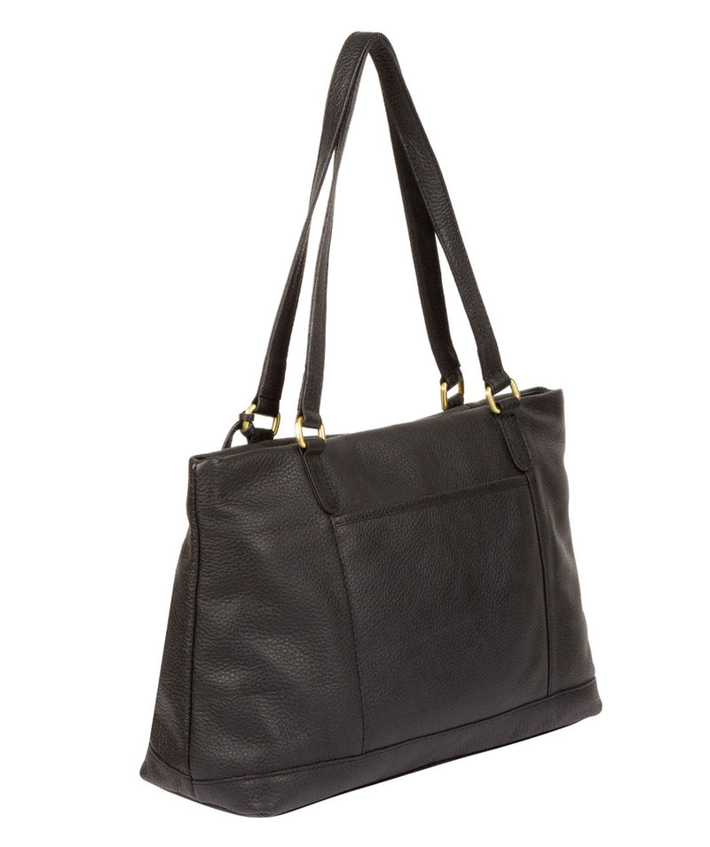 'Thea' Black Leather Shoulder Bag
