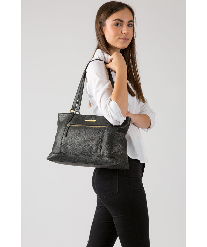 'Thea' Black Leather Shoulder Bag image 2