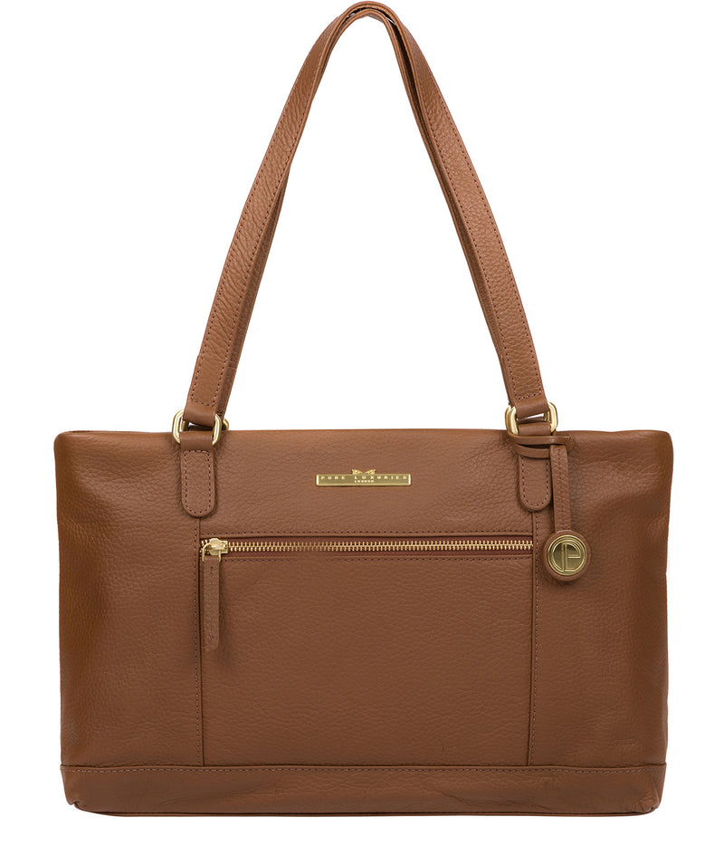 'Thea' Dark Tan Leather Shoulder Bag Pure Luxuries London