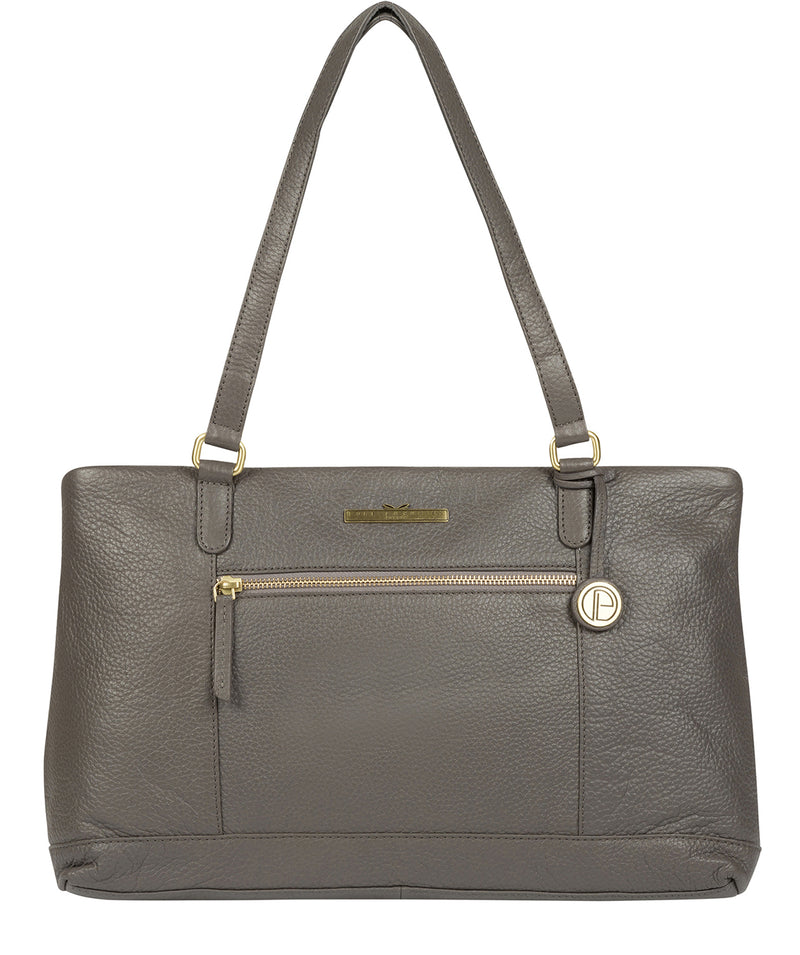 'Thea' Grey Leather Shoulder Bag image 1