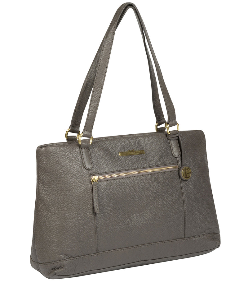 'Thea' Grey Leather Shoulder Bag image 3