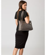 'Thea' Grey Leather Shoulder Bag image 2