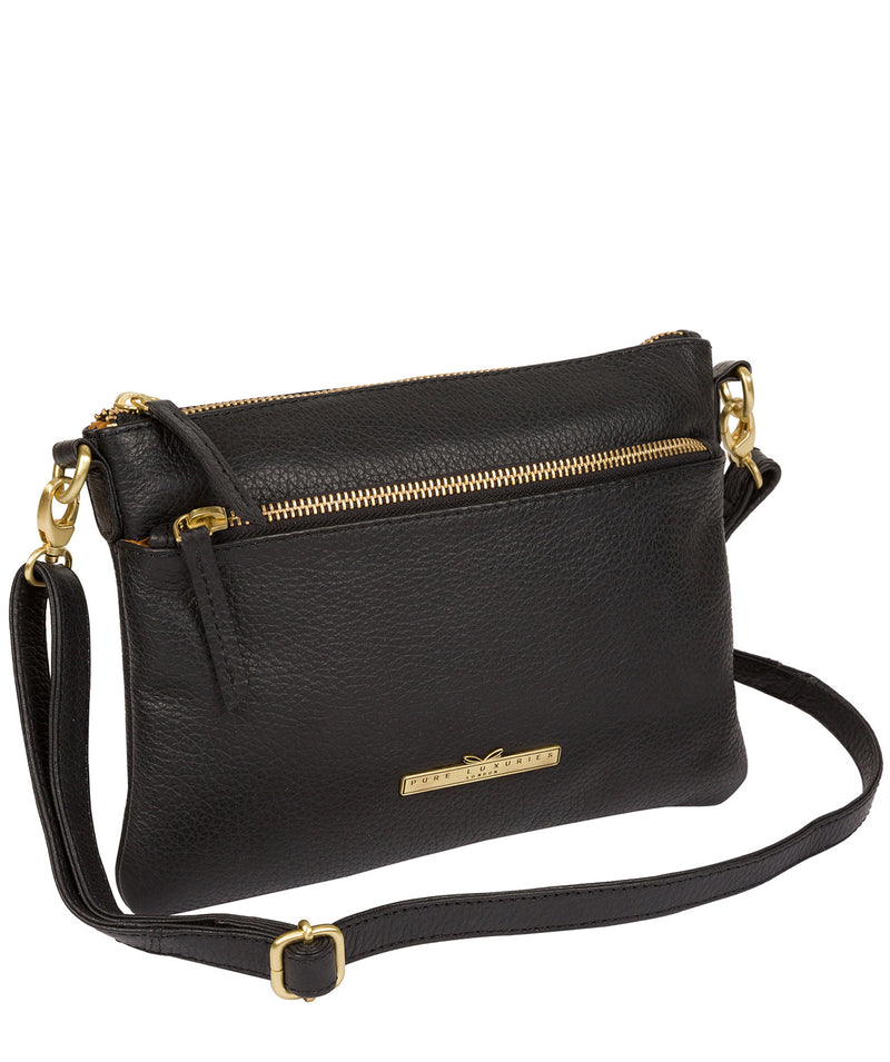 'Louise' Black Leather Cross Body Bag image 3
