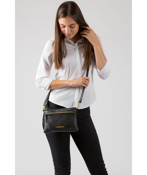 'Louise' Black Leather Cross Body Bag image 2