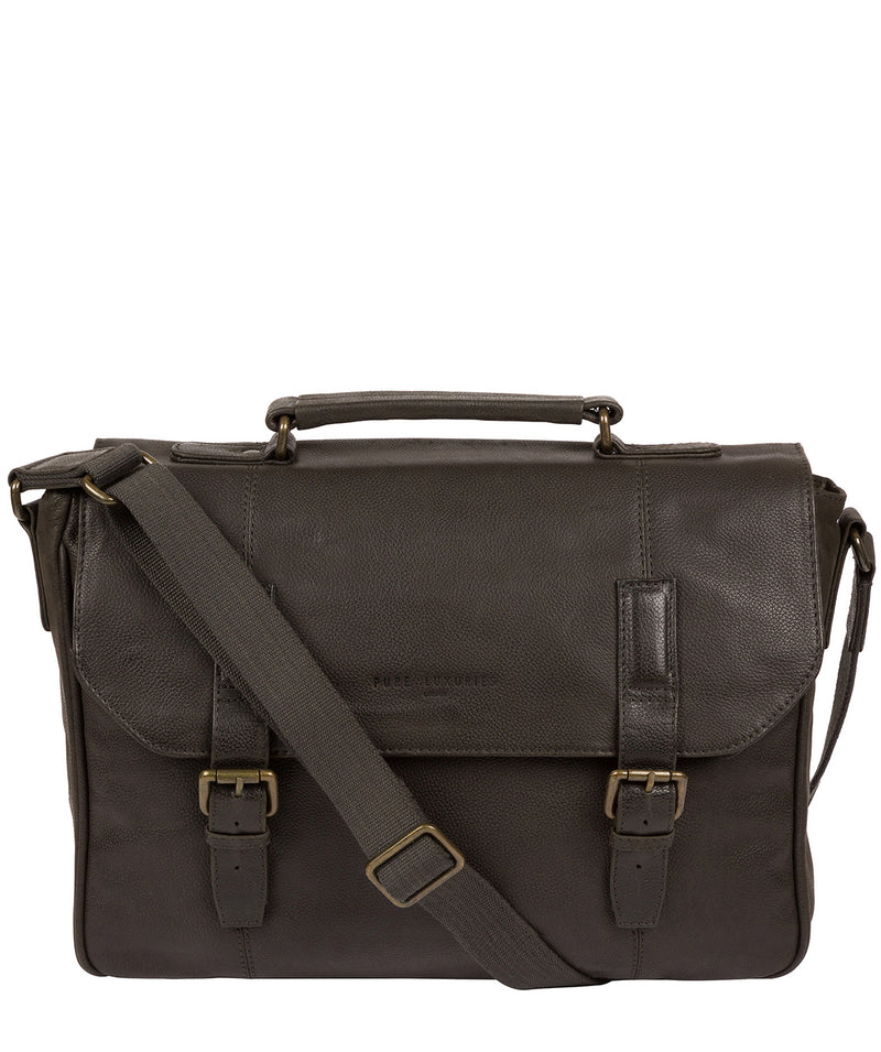 'Idris' Ash Black Leather Briefcase image 1