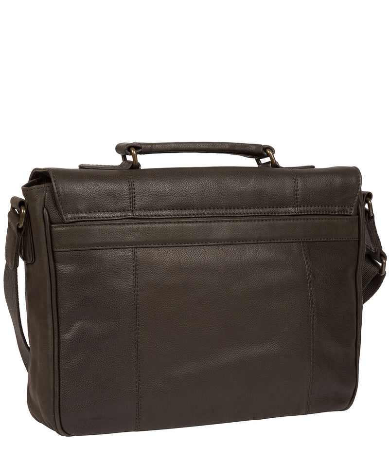 'Idris' Ash Black Leather Briefcase image 3