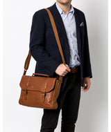 Idris' Tan Leather Briefcase