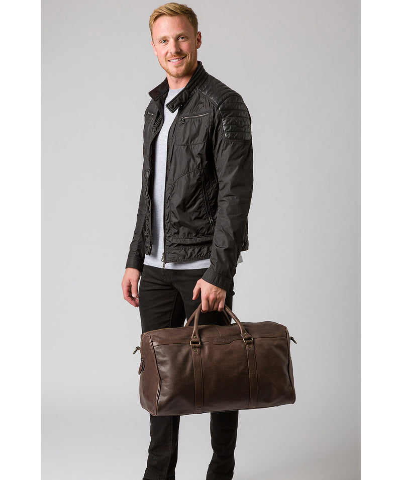 'Blanc' Cocoa Leather Holdall image 7