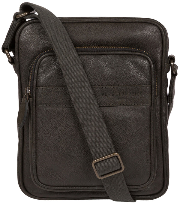 'Capitan' Ash Black Leather Cross Body Bag image 1