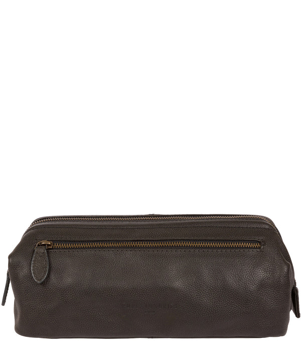 'Kea' Ash Black Leather Washbag image 1