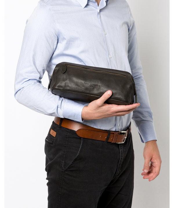'Kea' Ash Black Leather Washbag Pure Luxuries London