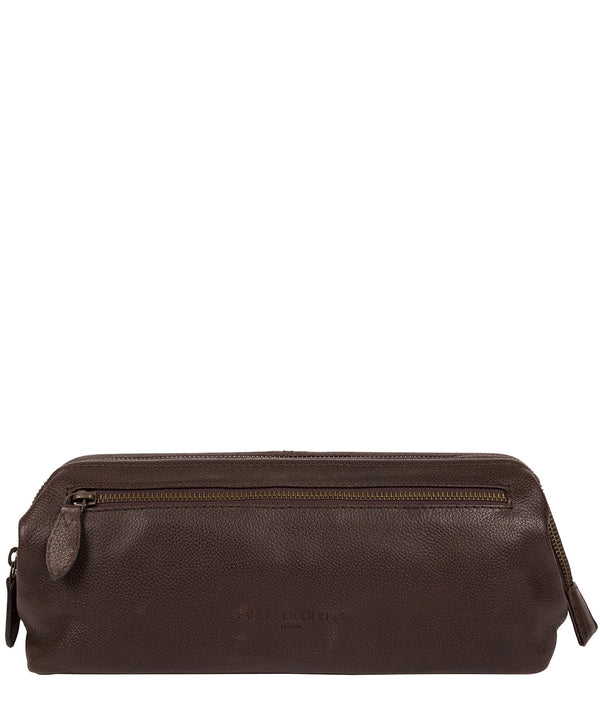 'Kea' Cocoa Leather Washbag image 1