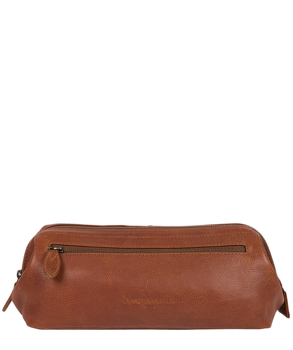 'Kea' Hazelnut Leather Washbag image 1