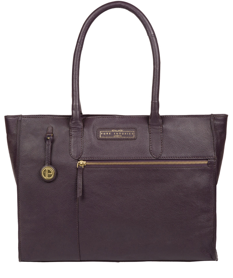 'Bloomsbury' Plum Leather Tote Bag image 1