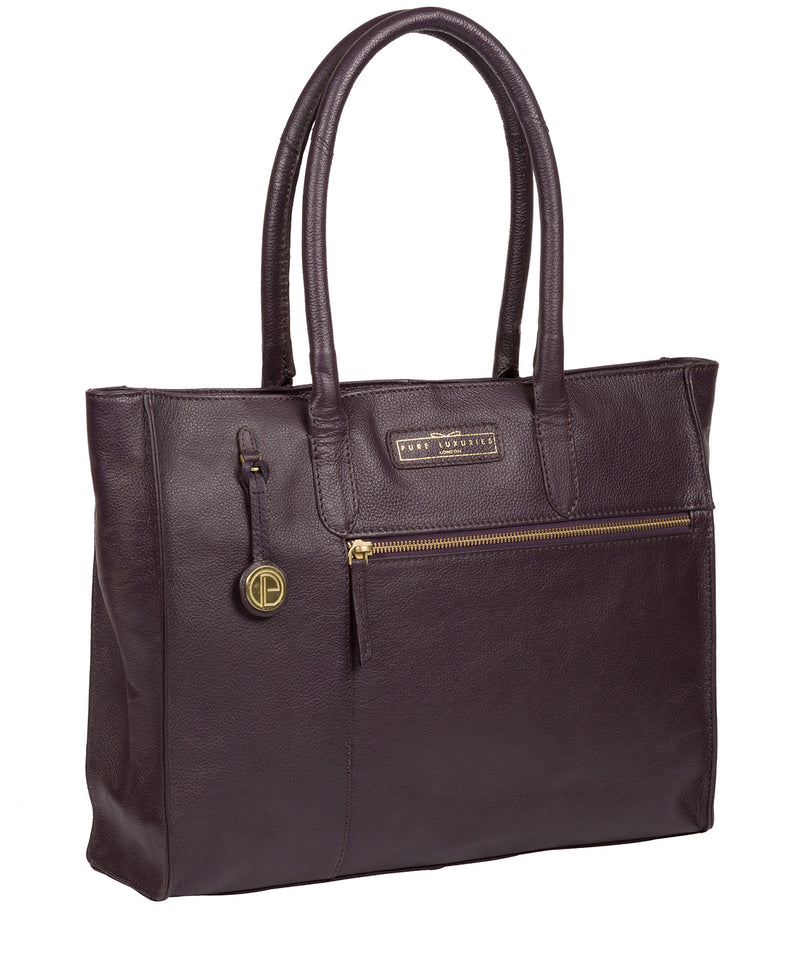'Bloomsbury' Plum Leather Tote Bag image 3