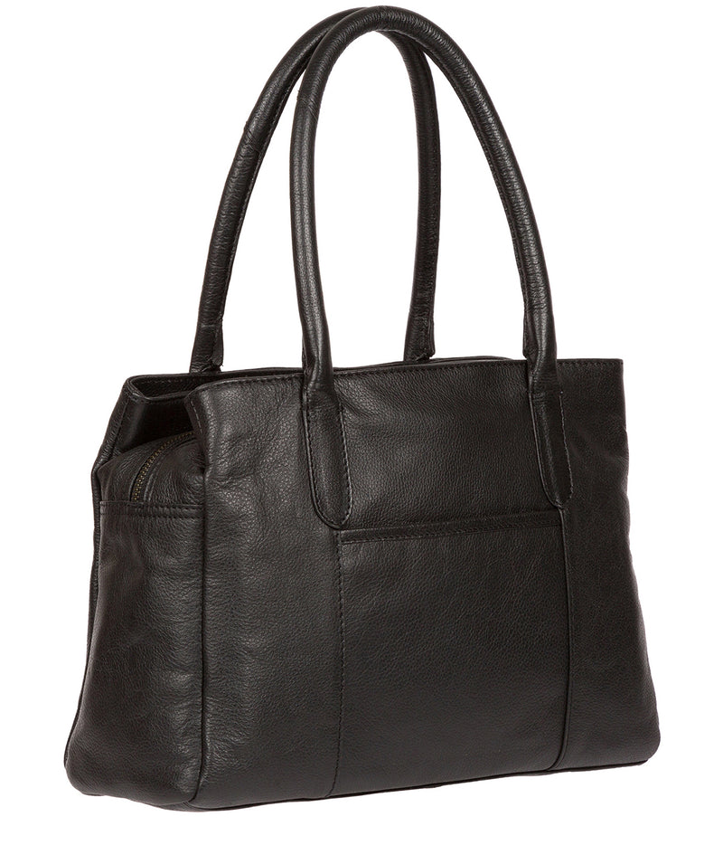 'Goldbourne' Black & Silver Leather Handbag image 3