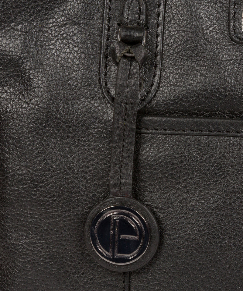 'Goldbourne' Black & Silver Leather Handbag image 6