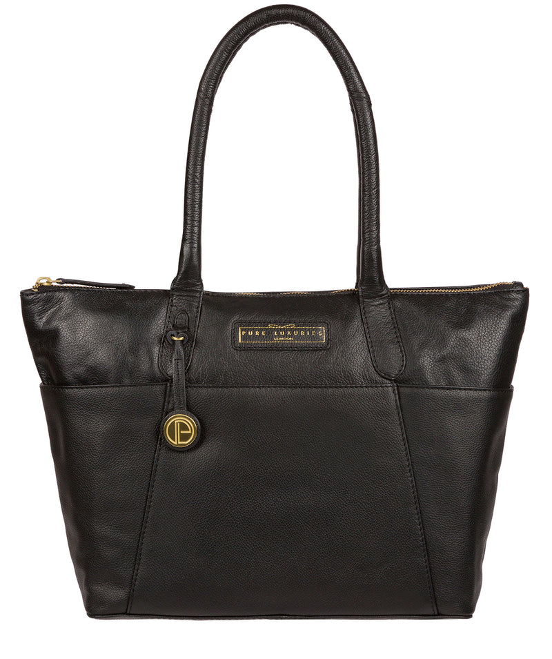 'Holne' Black & Gold Leather Tote Bag image 1
