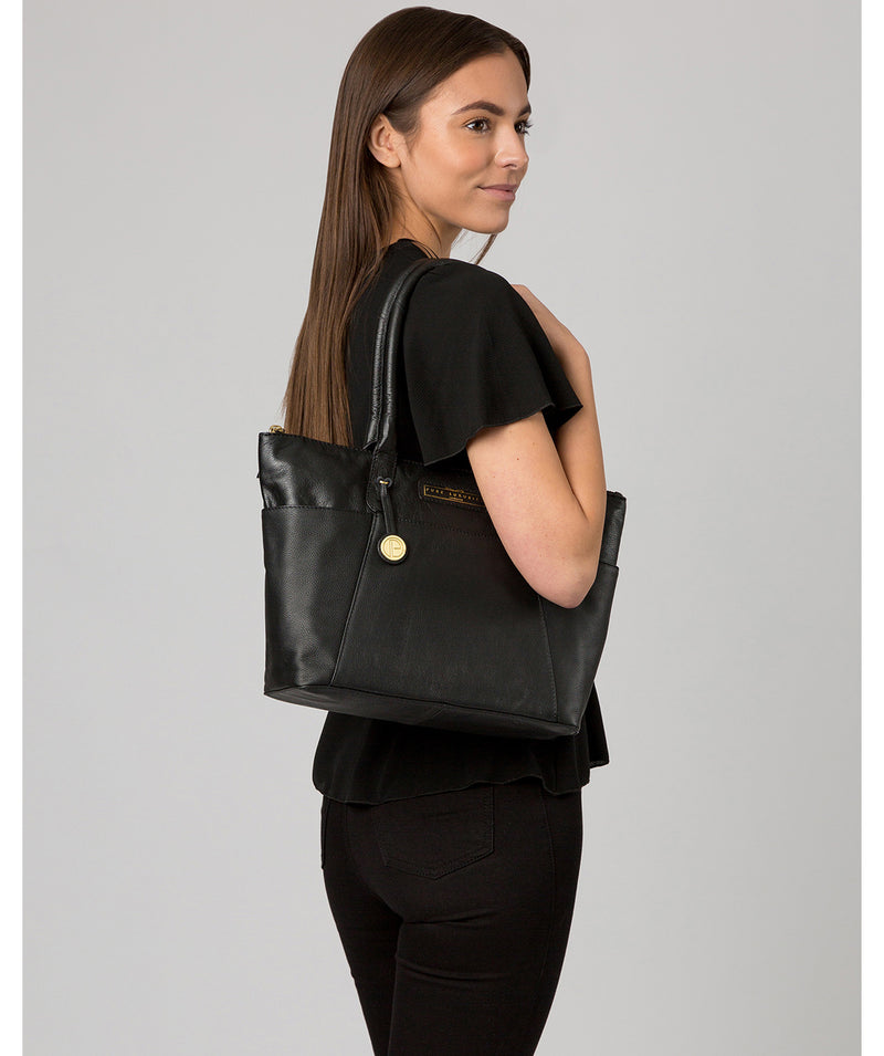 'Holne' Black & Gold Leather Tote Bag image 2