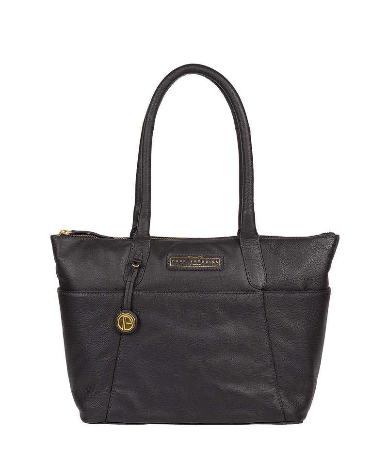 'Holne' Navy Leather Tote Bag