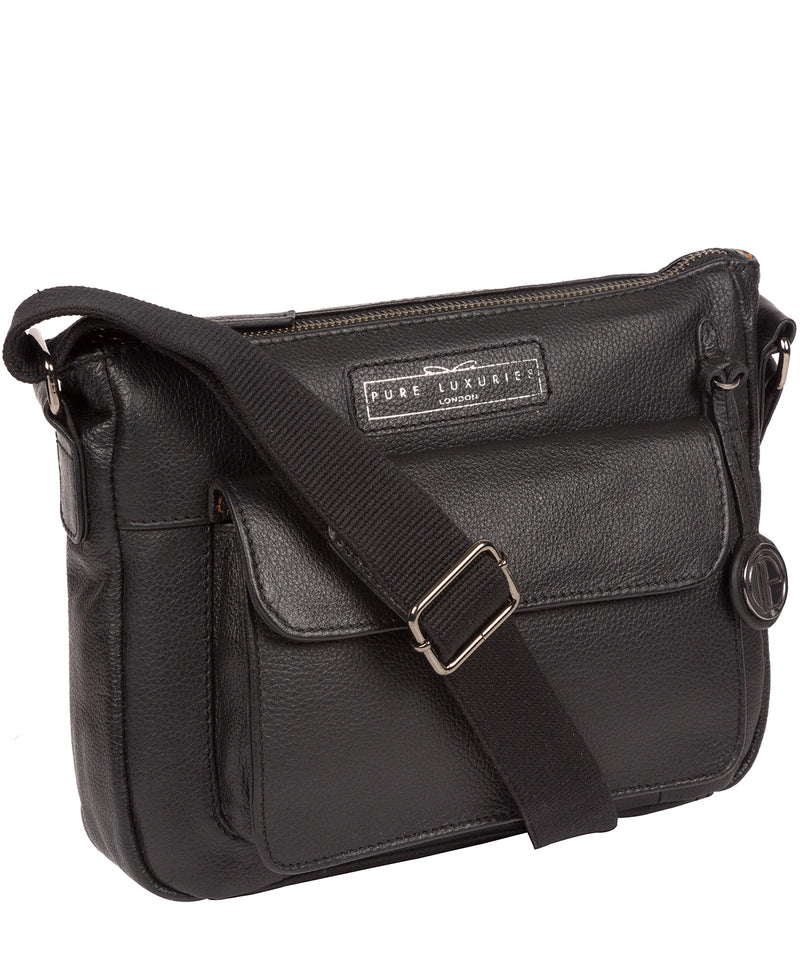 'Colton' Black & Silver Leather Cross Body Bag Pure Luxuries London