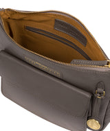 'Colton' Grey Leather Cross Body Bag Pure Luxuries London