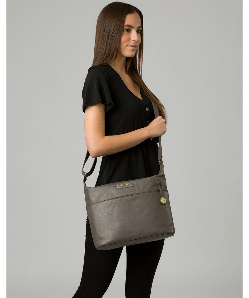 'Hove' Grey Leather Shoulder Bag image 2