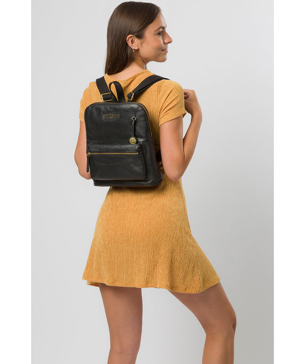 'Corfe' Black & Gold Leather Backpack image 2