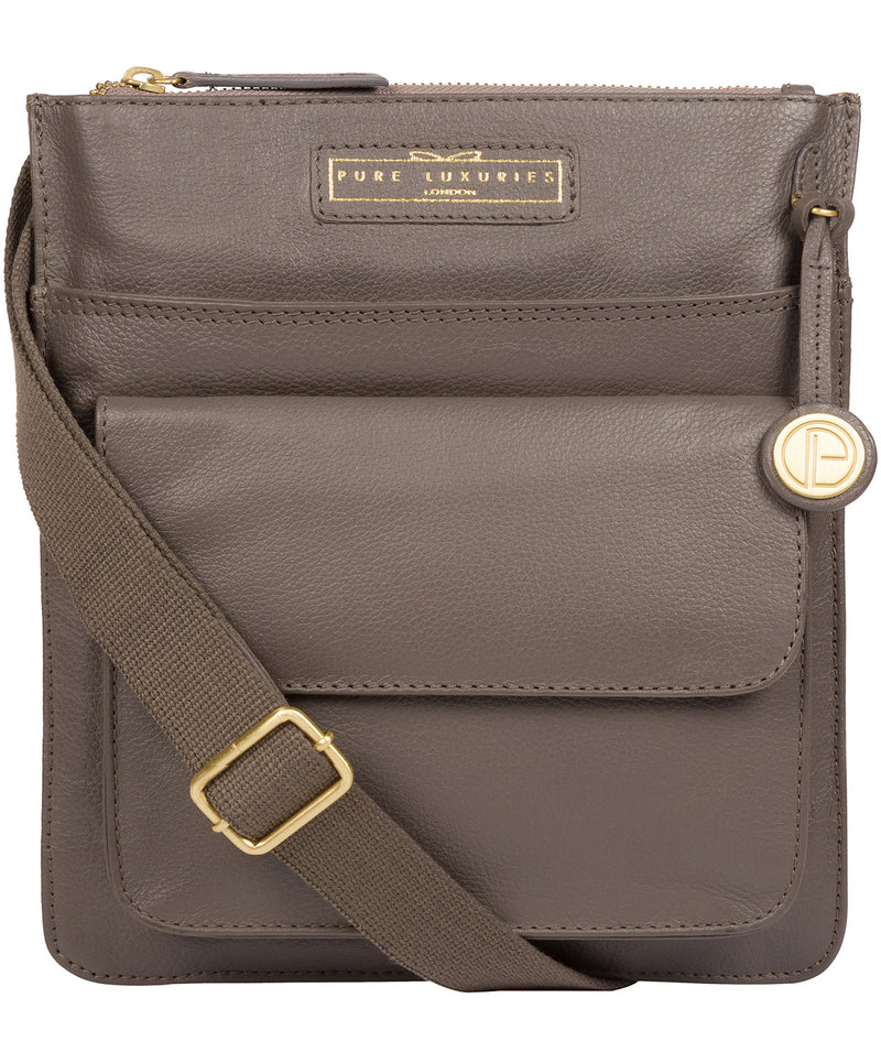 'Tenby' Grey Leather Cross Body Bag image 1