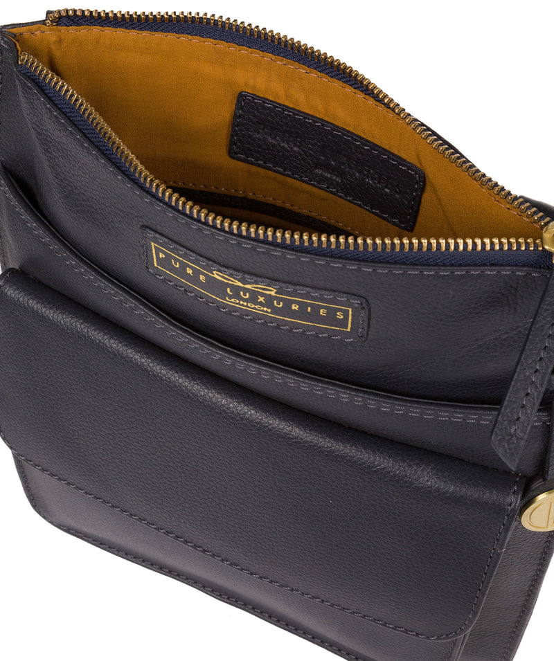 'Tenby' Navy Leather Cross Body Bag image 4