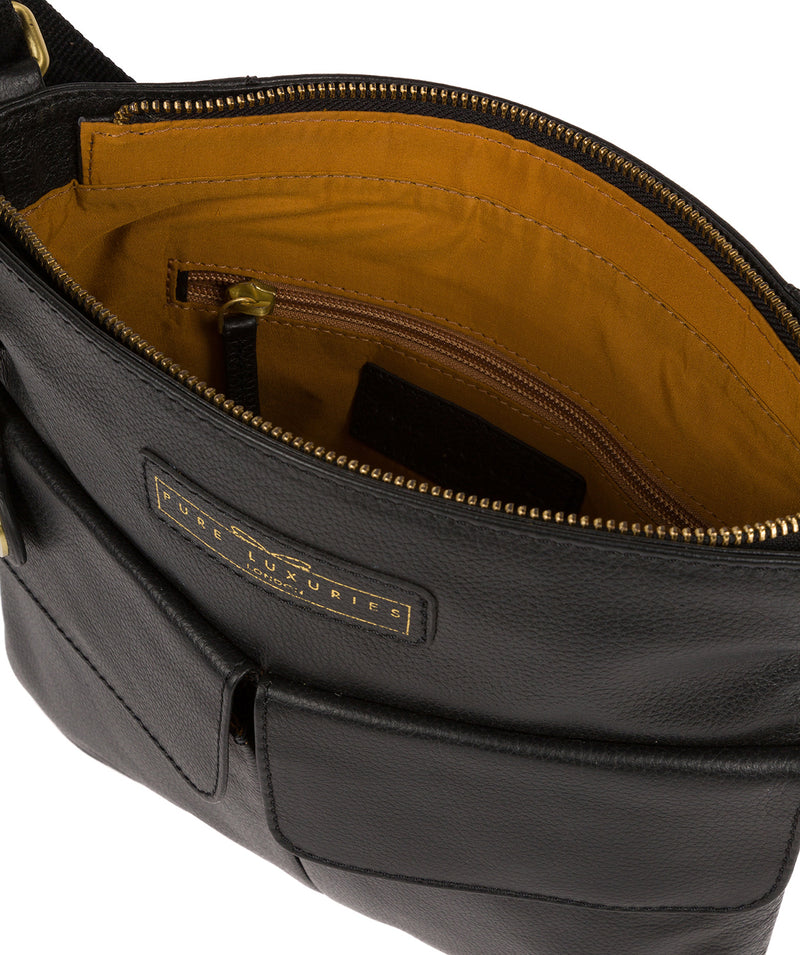 'Barnwell' Black & Gold Leather Cross Body Bag image 4