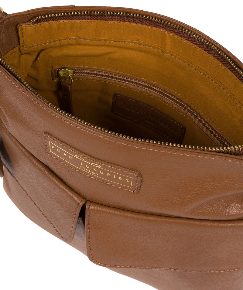 'Barnwell' Tan Leather Cross Body Bag image 4