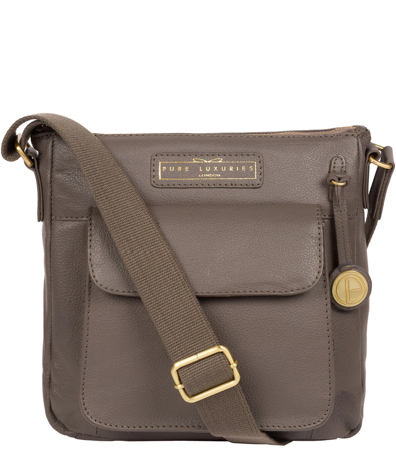'Mayfield' Grey Leather Cross Body Bag image 1