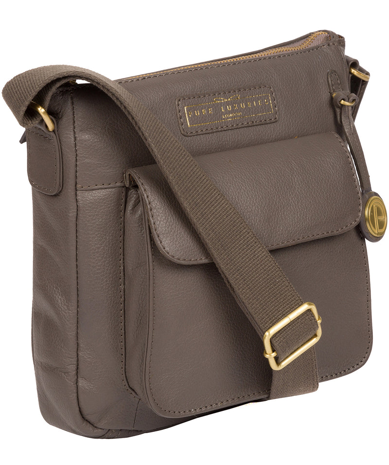 'Mayfield' Grey Leather Cross Body Bag image 3